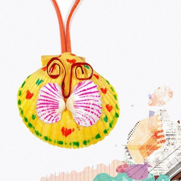 (만들기재료)가리비조개목걸이만들기_나비 5개묶음