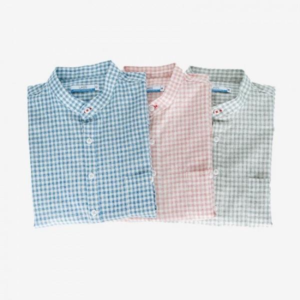 남자셔츠 루즈핏 사각체크 헨리넥 셔츠 Z0416001
