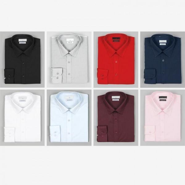 남자셔츠 심플 단색 슬림핏 와이셔츠 G0416012