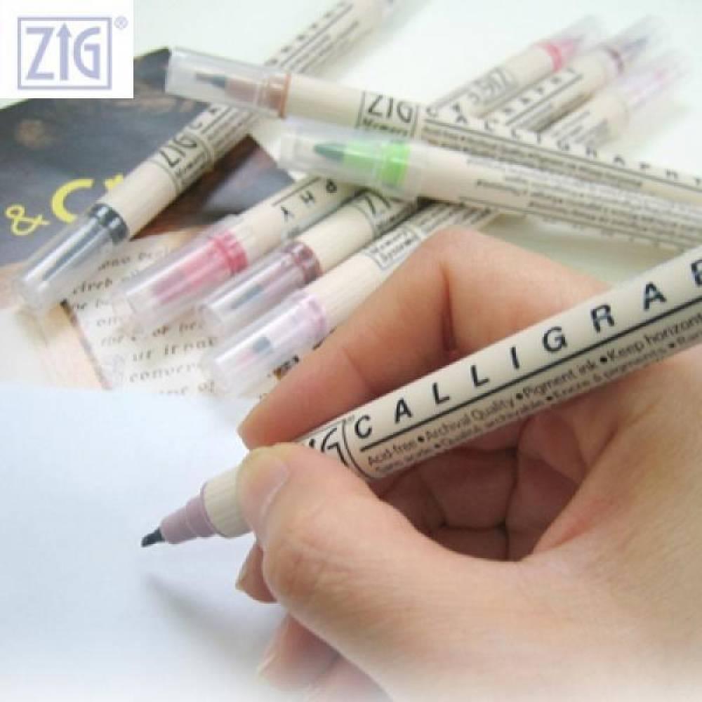 ZIG 지그 캘리그라피 트윈 붓마카 MS-6400[제작 대량 도매 로고 인쇄 레이저 마킹 각인 나염 실크 uv 포장 공장 문의는 네이뽕]