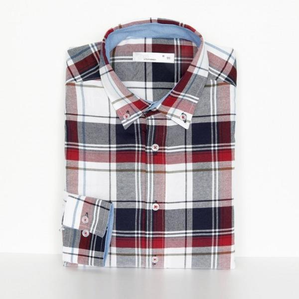 남자셔츠 배색 타탄 체크 셔츠 J0416002