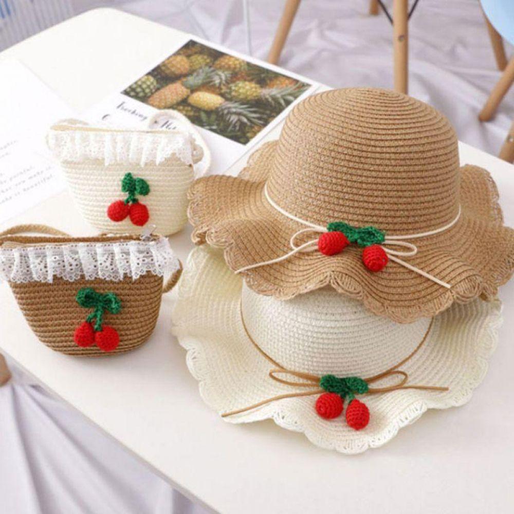 체리 와펜 왕골 모자 가방 유아모자 유아가방 어린이모자 어린이가방 여름모자