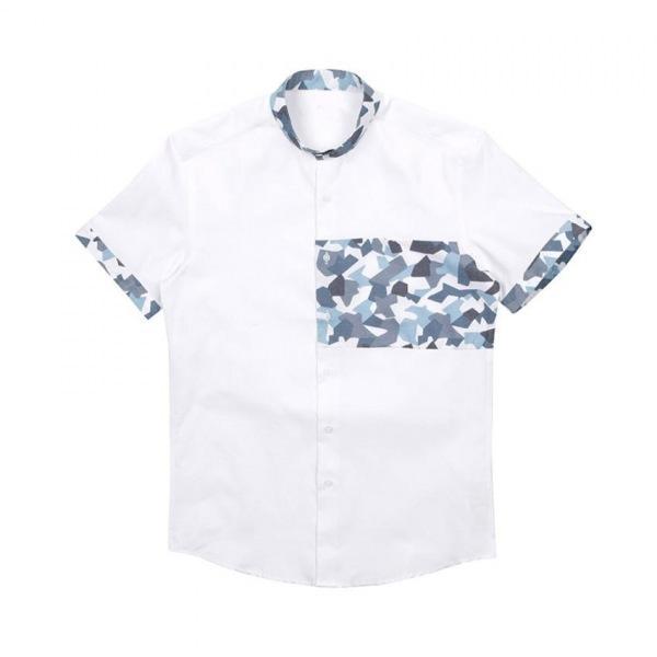 남자셔츠 카모 카라 반팔셔츠 J0417008