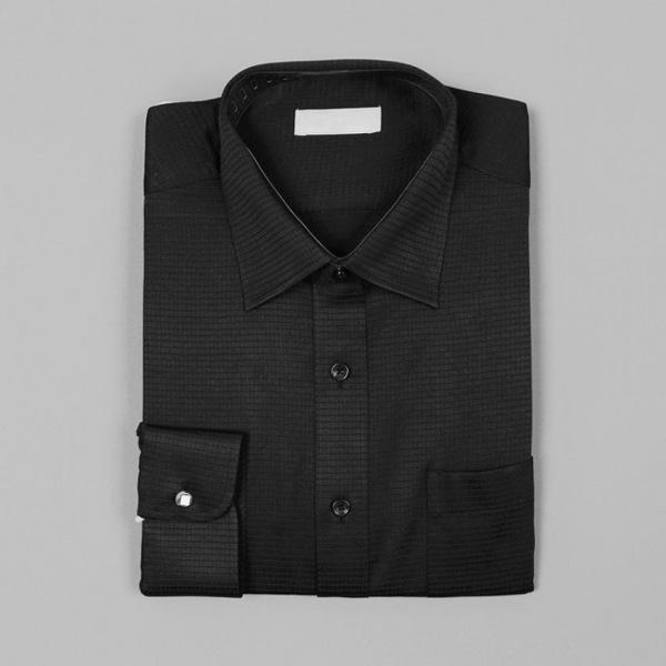 남자셔츠 블랙 체크무늬 슬림핏 와이셔츠 G0416060