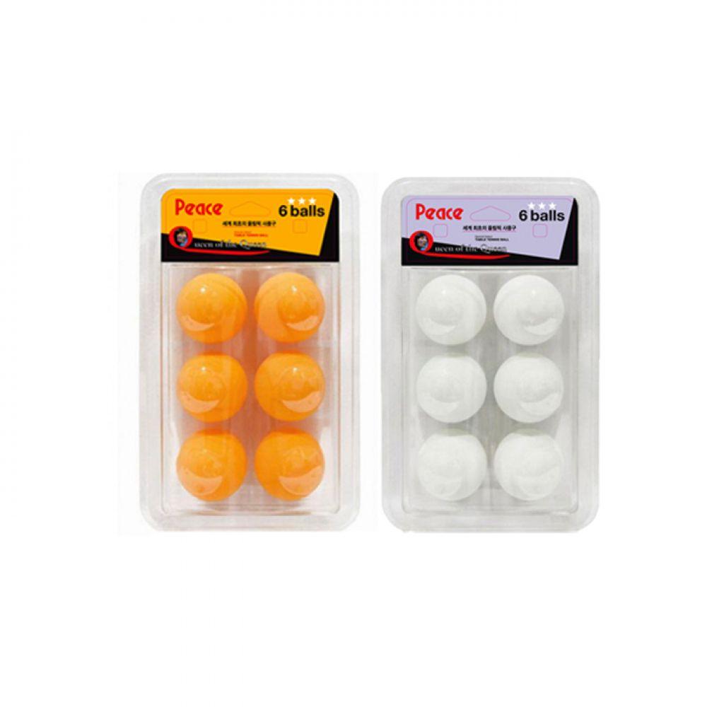 피스 3성 플라스틱ABS 탁구공 6입 (화이트/오렌지) [제작 대량 도매 로고 인쇄 레이저 마킹 각인 나염 실크 uv 포장 공장 문의는 네이뽕]