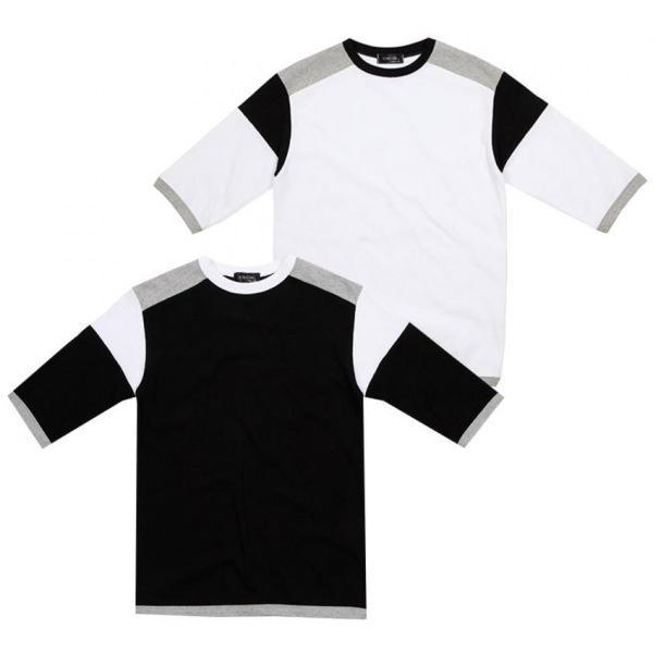 남자티셔츠 밸런스 배색 7부 티셔츠 BB0317003