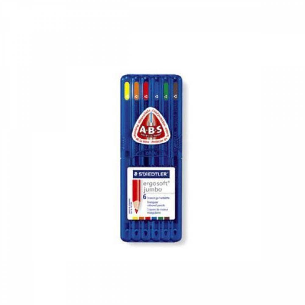 스테들러 에고소프트 점보 158SB6 6칼라 삼각색연필 세트