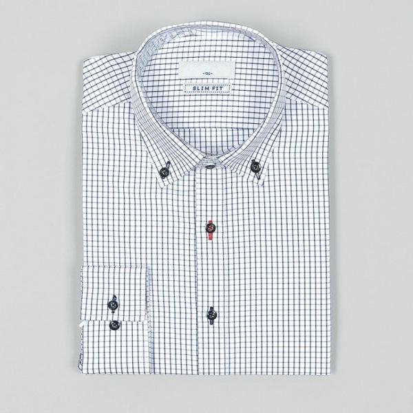 남자셔츠 심플 체크무늬 슬림핏 와이셔츠 G0416048