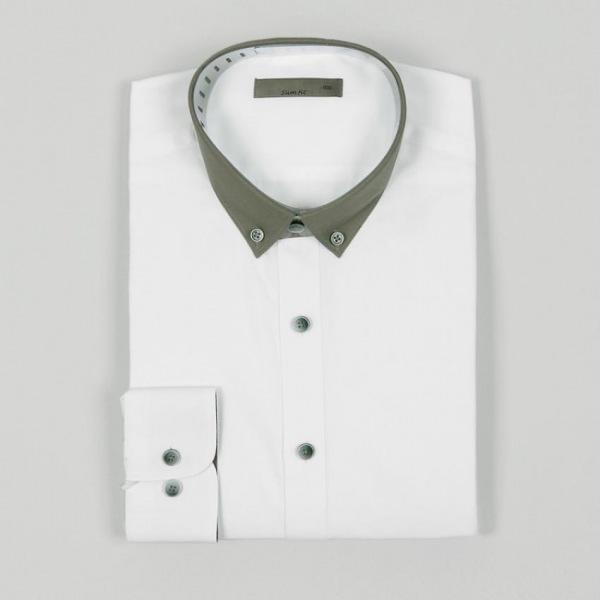 남자셔츠 카라 배색 슬림핏 와이셔츠 G0416066