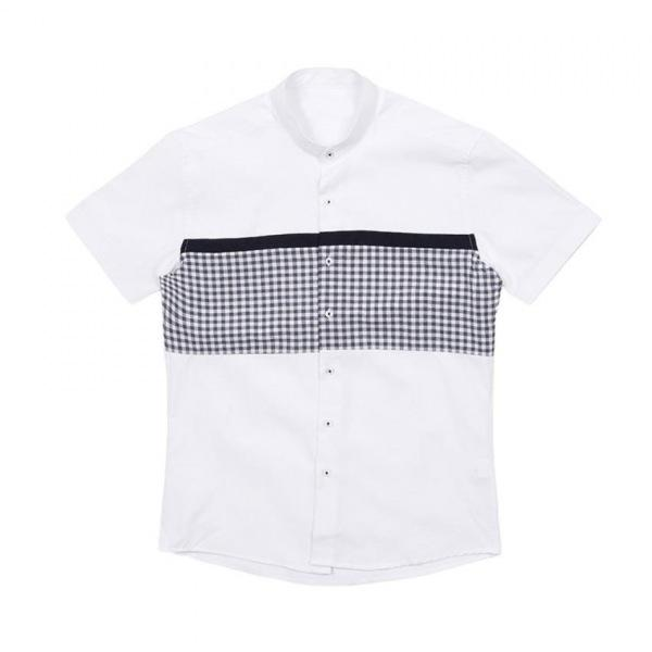 남자셔츠 차이나카라 체크 배색 반팔셔츠 J0417024