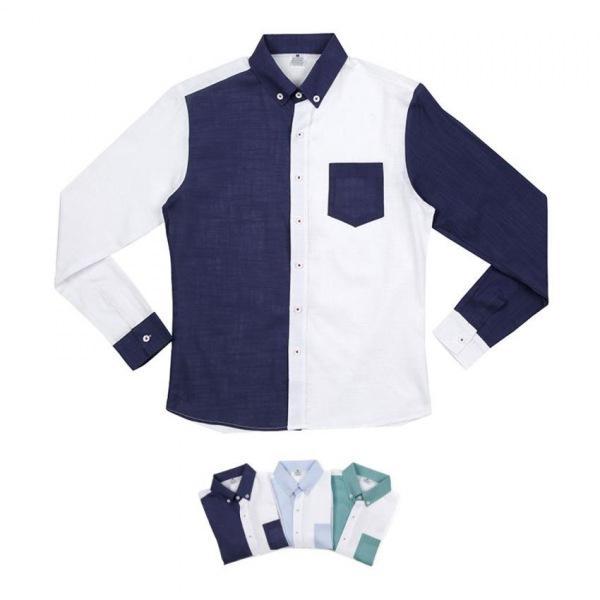 남자셔츠 하프 배색 포켓 셔츠 BP0417005