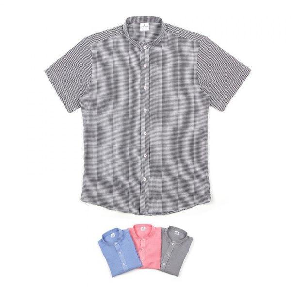 남자셔츠 차이나카라 체크 반팔셔츠 BP0417010
