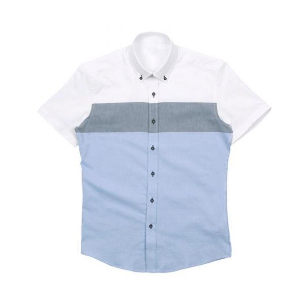 남자셔츠 소라 배색 반팔셔츠 J0417010