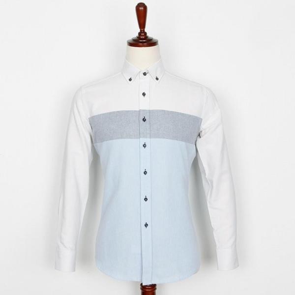 남자셔츠 가슴선 단가라 셔츠 J0416009