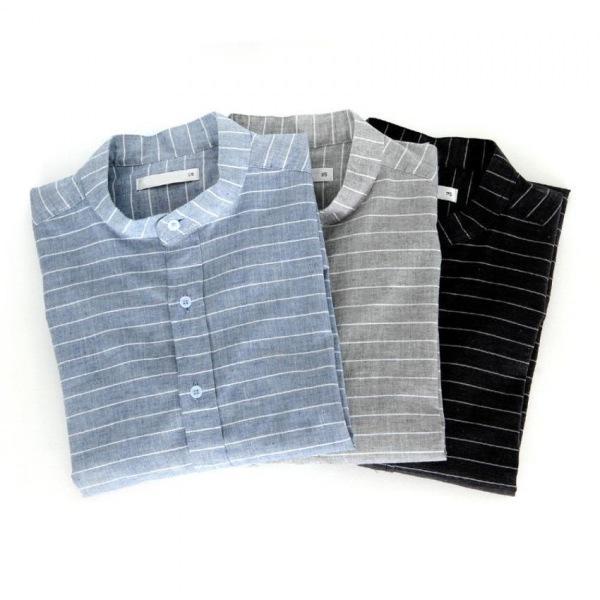 남자셔츠 스트라이프 롤업 헨리넥 셔츠 J0416012
