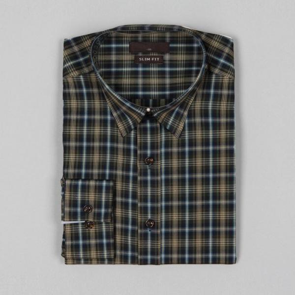남자셔츠 타탄 체크무늬 슬림핏 와이셔츠 G0416030