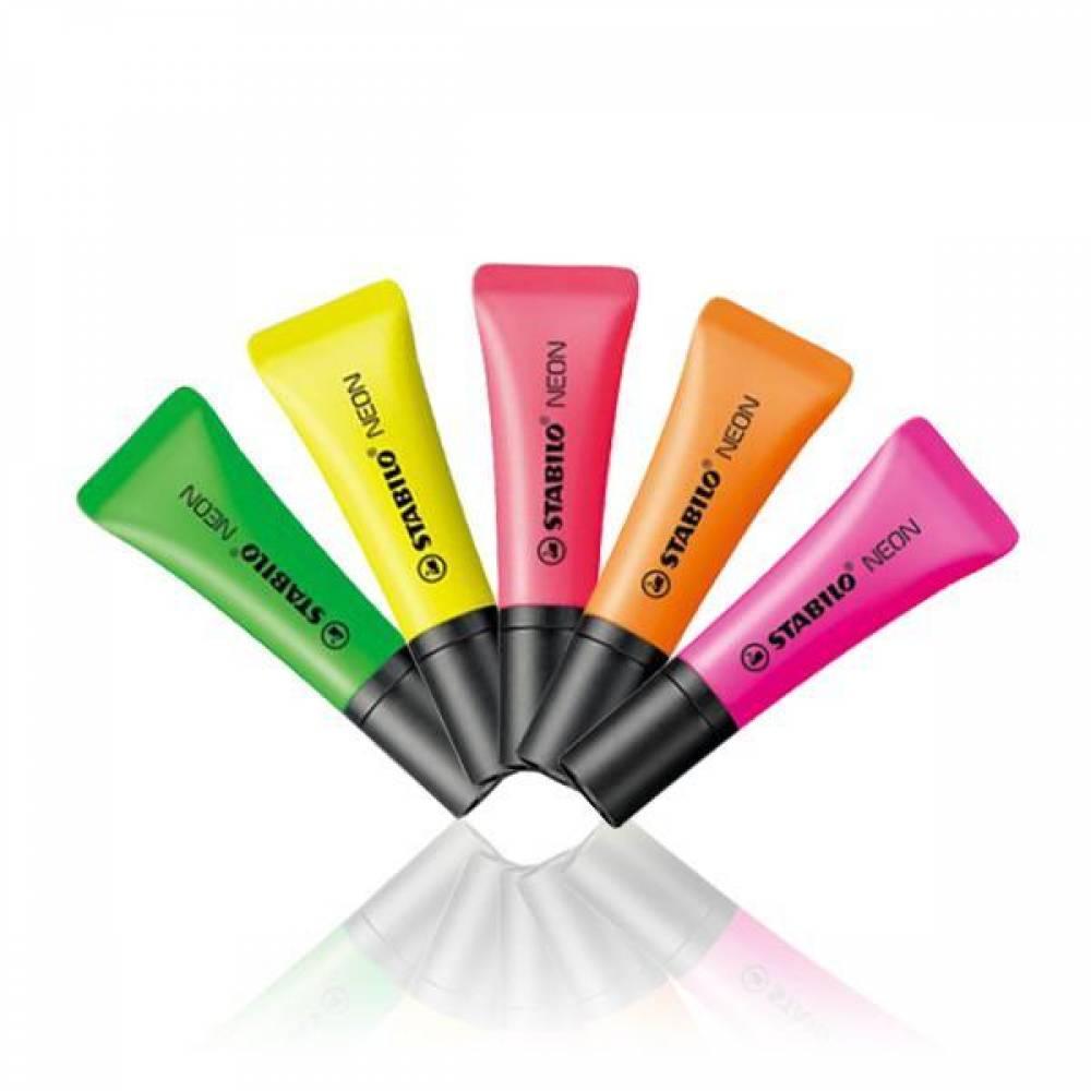 스타빌로 네온 하이라이터 튜브디자인 형광펜[제작 대량 도매 로고 인쇄 레이저 마킹 각인 나염 실크 uv 포장 공장 문의는 네이뽕]