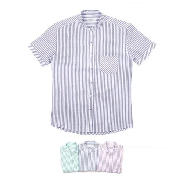 남자셔츠 파스텔 스트라이프 반팔셔츠 J0417019