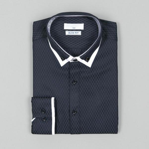 남자셔츠 패션 카라 배색 슬림핏 와이셔츠 G0416022