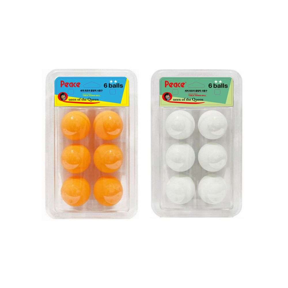 피스 2성 플라스틱ABS 탁구공 6입 (화이트/오렌지) [제작 대량 도매 로고 인쇄 레이저 마킹 각인 나염 실크 uv 포장 공장 문의는 네이뽕]
