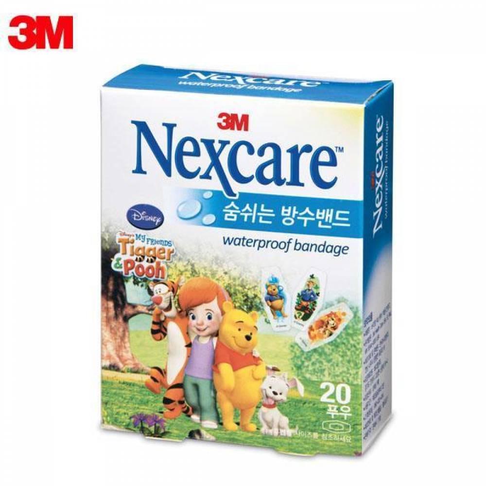 3M 넥스케어 숨쉬는 방수밴드 (푸우) 중형 20매 [제작 대량 도매 로고 인쇄 레이저 마킹 각인 나염 실크 uv 포장 공장 문의는 네이뽕]