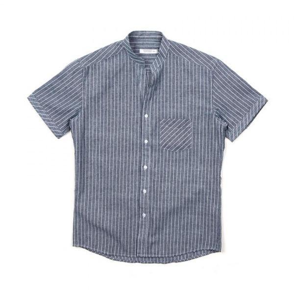 남자셔츠 차이나넥 초크 스트라이프 반팔셔츠 J0417026