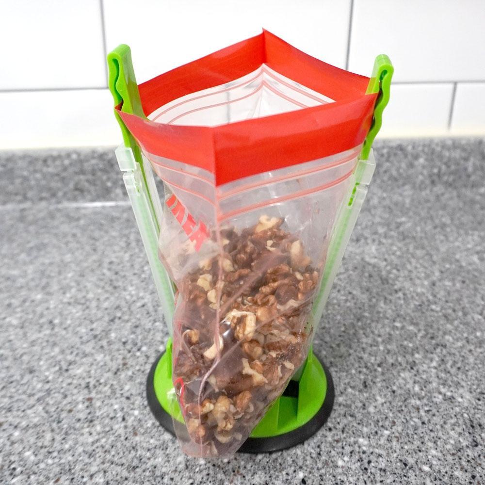 지퍼백 홀더 벌리개 소분봉투홀더 지퍼백포장집게 주방잡화 지퍼백고정 봉투고정 비닐고정 높이조절비닐집게 비닐집게 음식물쓰레기홀더 비닐고정집게