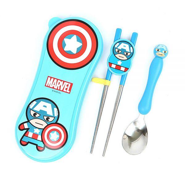 캡틴아메리카 연습용젓가락 스푼 와이드케이스세트 어린이수저 유아수저 교정젓가락
