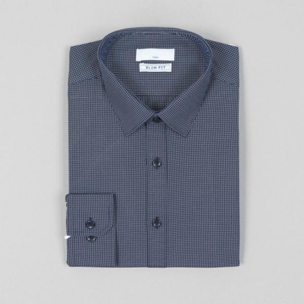남자셔츠 심플 체크무늬 슬림핏 와이셔츠 G0416032