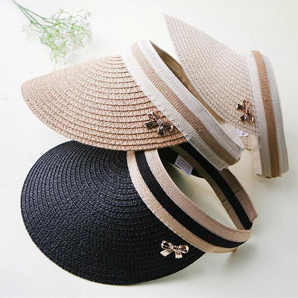 여름 패션 모자 리본장식 라피아썬캡 썬캡 햇빛차단 여름모자(대/중/소)