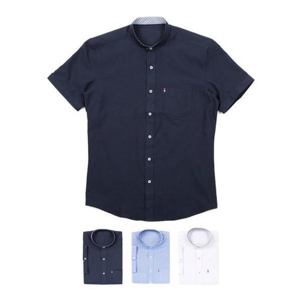 남자셔츠 차이나카라 포켓 반팔셔츠 J0417020