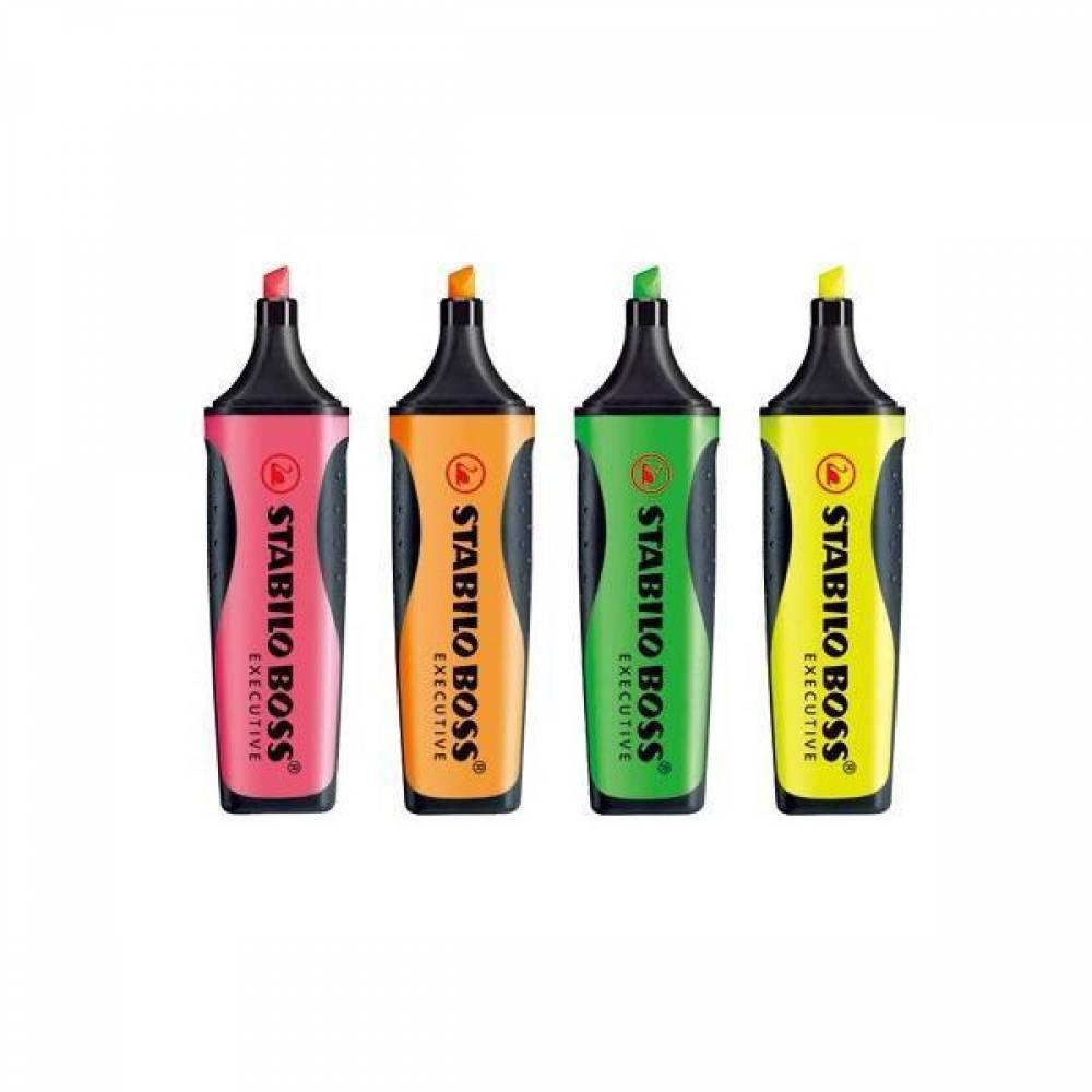 스타빌로 보스 이그제큐티브 하이라이터 형광펜[제작 대량 도매 로고 인쇄 레이저 마킹 각인 나염 실크 uv 포장 공장 문의는 네이뽕]