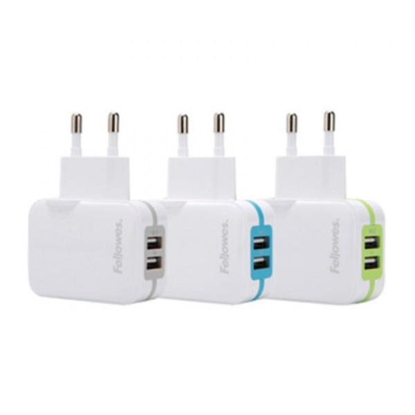 펠로우즈 가정용 2포트 USB 충전기(블루) 99273[제작 대량 도매 로고 인쇄 레이저 마킹 각인 나염 실크 uv 포장 공장 문의는 네이뽕]