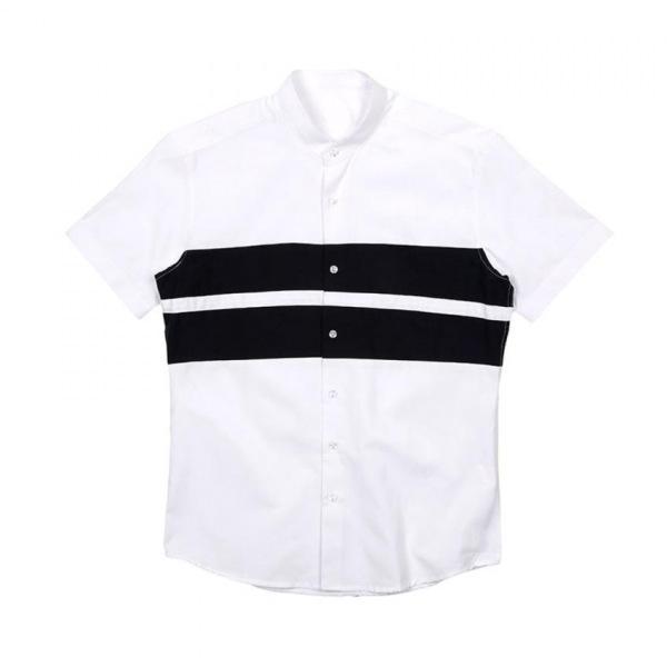남자셔츠 차이나카라 2줄 단가라 반팔셔츠 J0417023