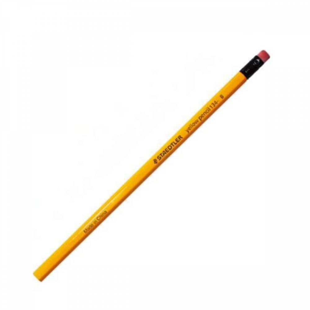 스테들러 옐로우펜슬 134 지우개연필 12개입 펜슬