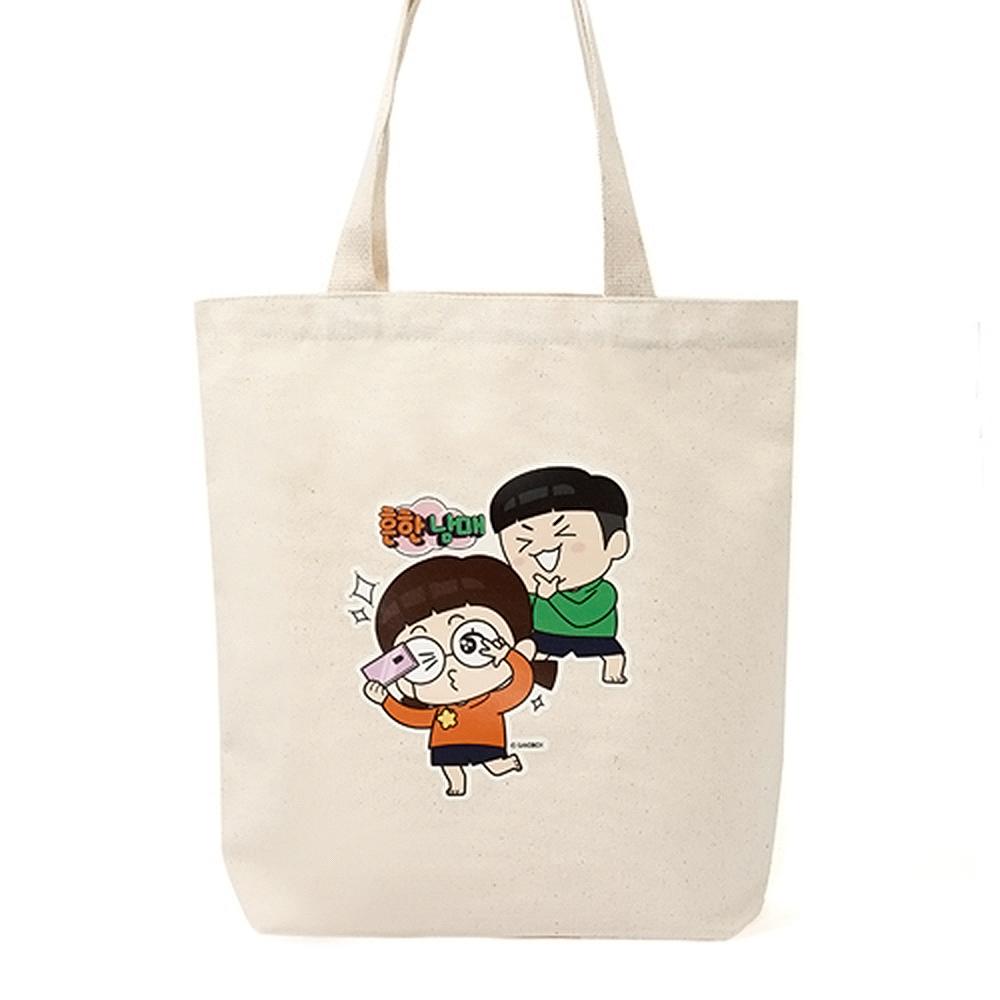흔한남매 셀피 에코백(베이지) 보조가방 데일리가방 천가방 캐릭터가방