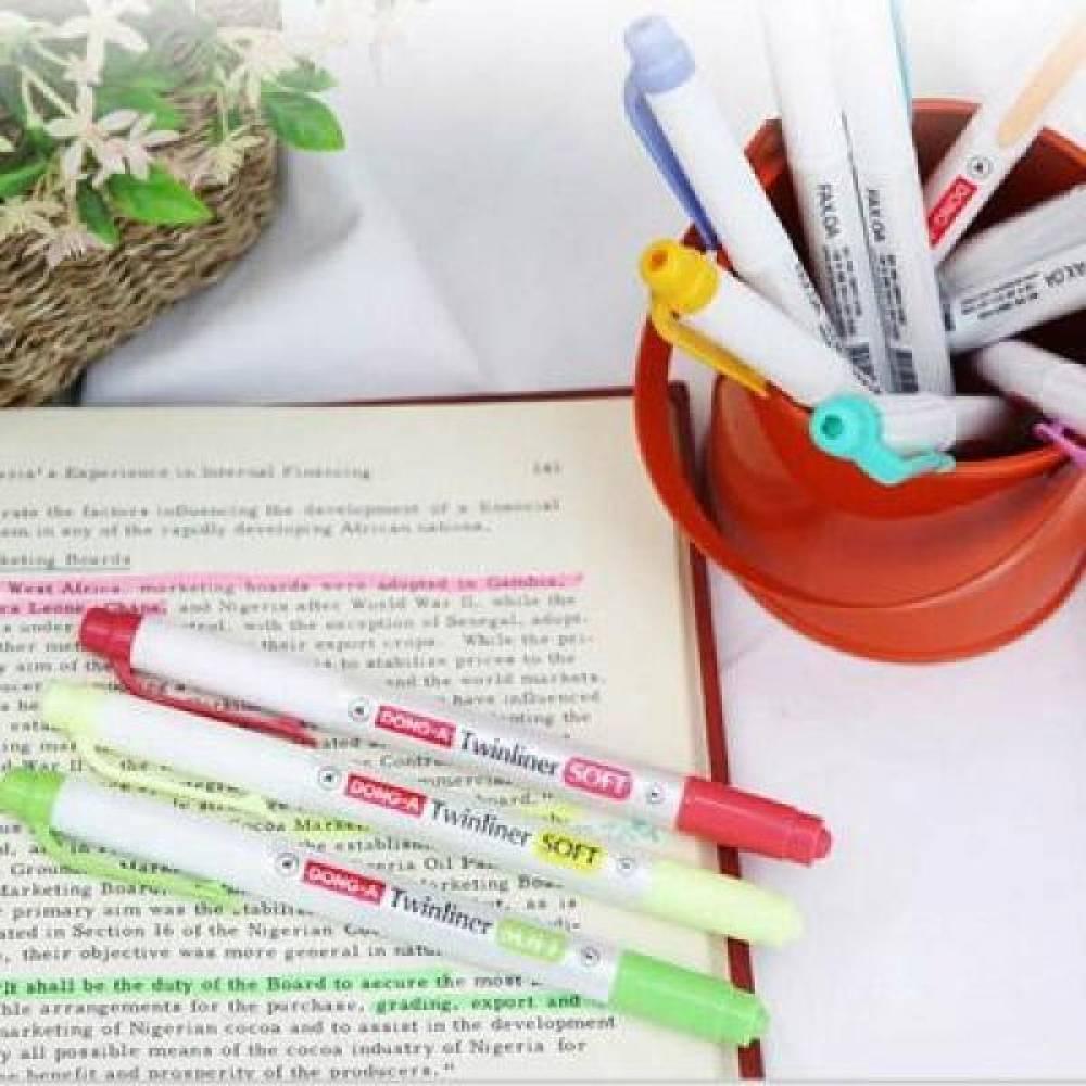 동아 트윈라이너 소프트 양면 형광펜[제작 대량 도매 로고 인쇄 레이저 마킹 각인 나염 실크 uv 포장 공장 문의는 네이뽕]