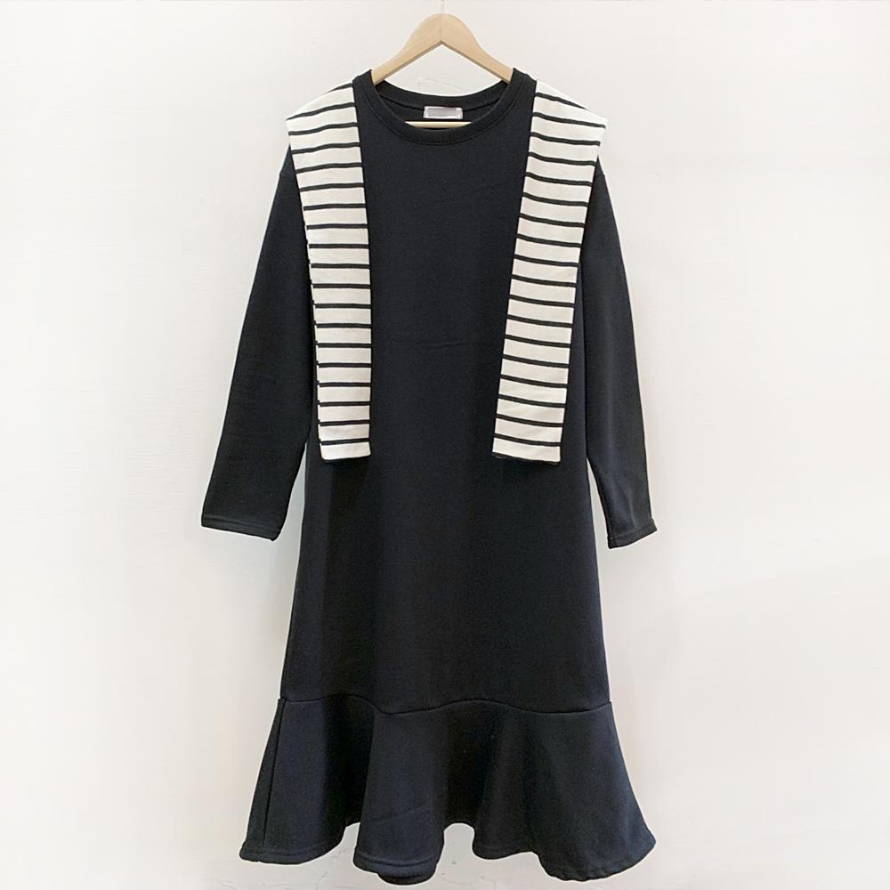 미시옷 7335L911 단가라 타이 원피스 BE 빅사이즈 여성의류 빅사이즈 여성의류 미시옷 임부복 밀크줄지기모원피스