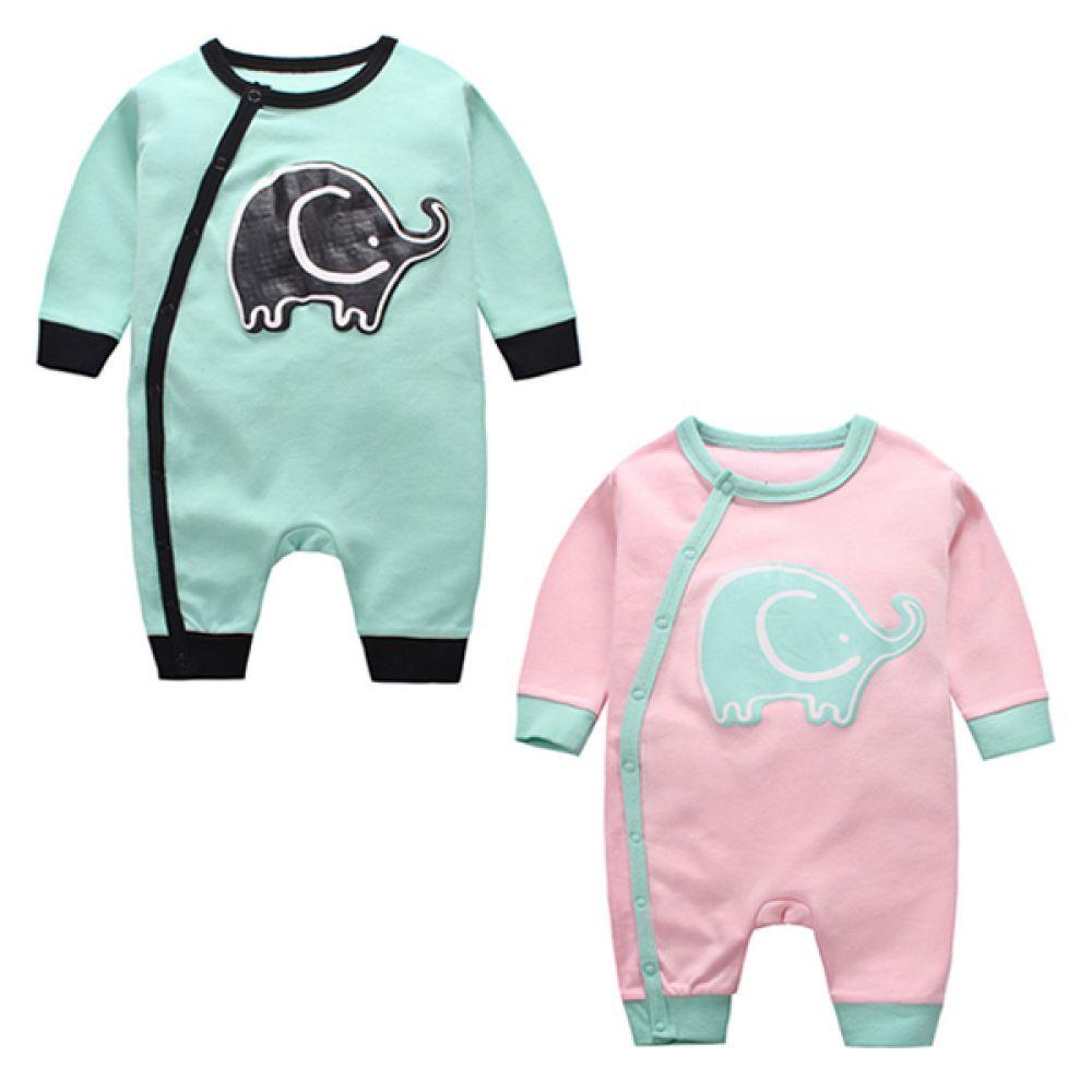 파스텔 코끼리 우주복(0-24개월) 203693 아기우주복 유아우주복 우주복 아기실내복 유아실내복 바디슈트 아기잠옷 유아잠옷 면우주복