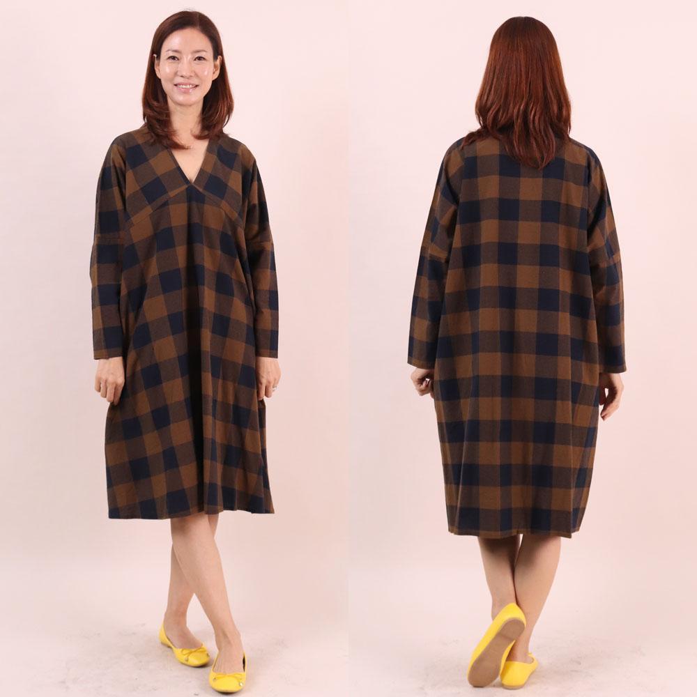 미시옷 6485L911 오버핏 고방 원피스 WC 빅사이즈 여성의류 빅사이즈 여성의류 미시옷 임부복 모크브이체크원피스