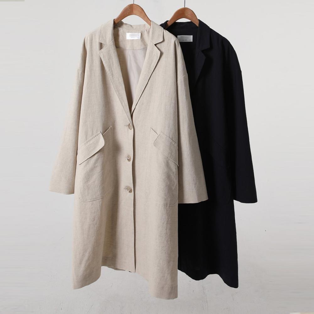 미시옷 9655L004 내추럴무드롱플랩자켓 WB 빅사이즈 여성의류 빅사이즈 여성의류 미시옷 임부복 어반코튼린넨롱자켓