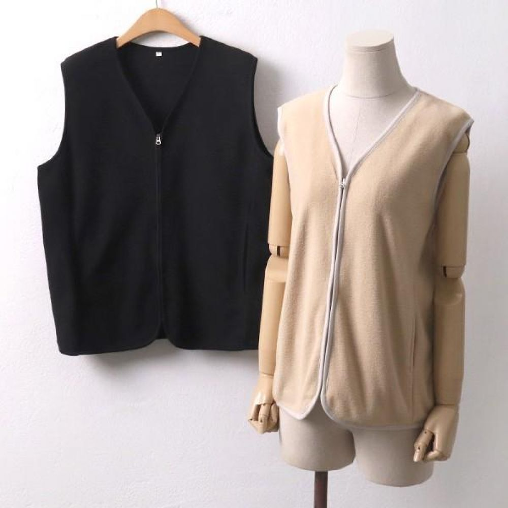 빅사이즈 001 후리스 집업 베스트 DWW7553 빅사이즈 여성의류 미시옷 임부복 001후리스집업베스트DWW7553