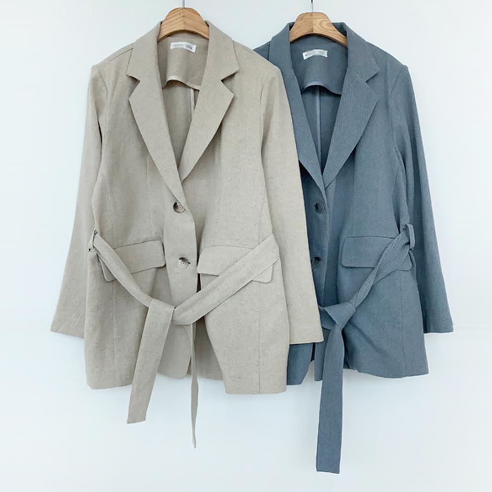 미시옷 9694L004 클래추럴 벨티드 자켓 TG 빅사이즈 여성의류 빅사이즈 여성의류 미시옷 임부복 트윌코튼린넨어반자켓