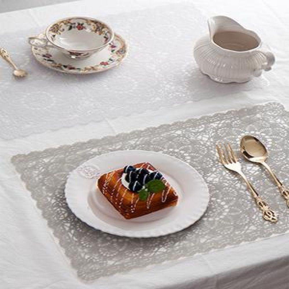 원꽃 레이스 식탁 테이블매트 2종 식탁매트 테이블웨어 방수테이블매트 식탁깔개 북유럽테이블매트