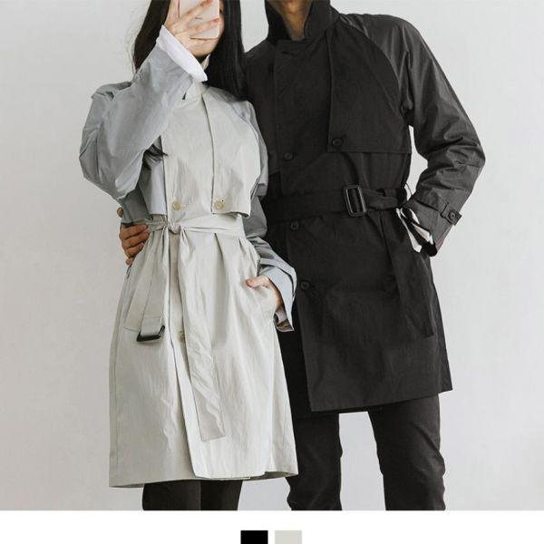 시밀러 배색 모던 트렌치 코트