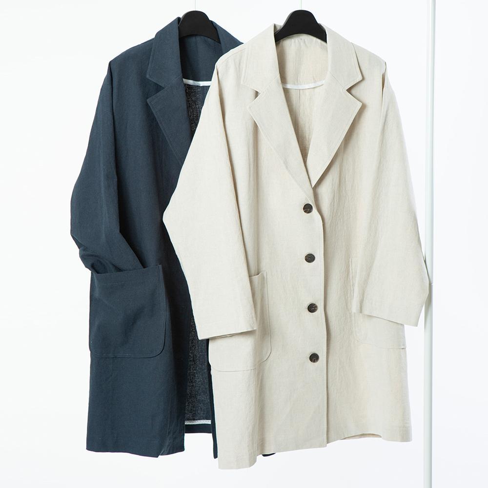 미시옷 9682L004 내추럴테일러드롱자켓 CM 빅사이즈 여성의류 빅사이즈 여성의류 미시옷 임부복 베이직코튼린넨자켓