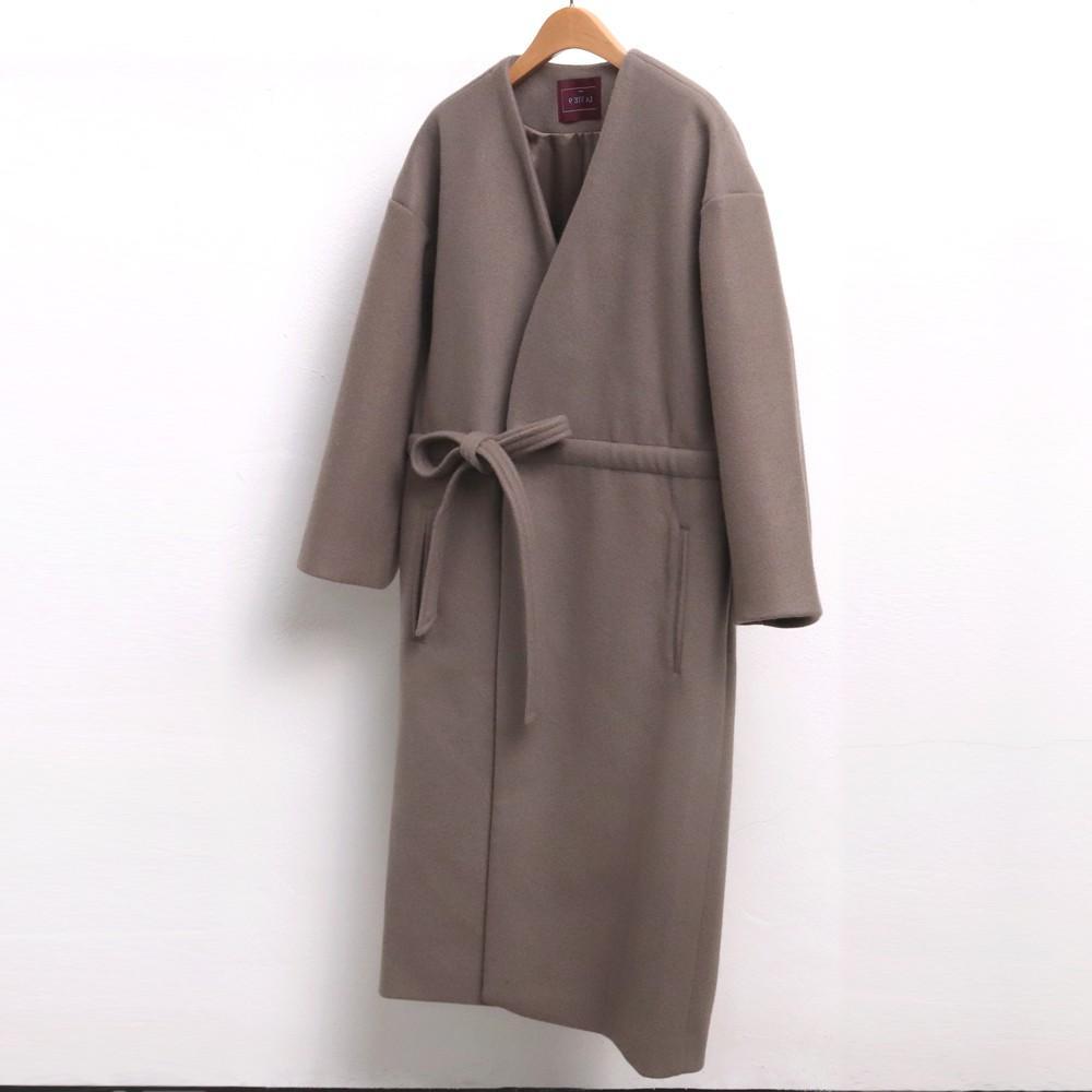 미시옷 7091L911 허리끈 랩 롱 코트 LN 빅사이즈 여성의류 빅사이즈 여성의류 미시옷 임부복 울타이로브롱코트