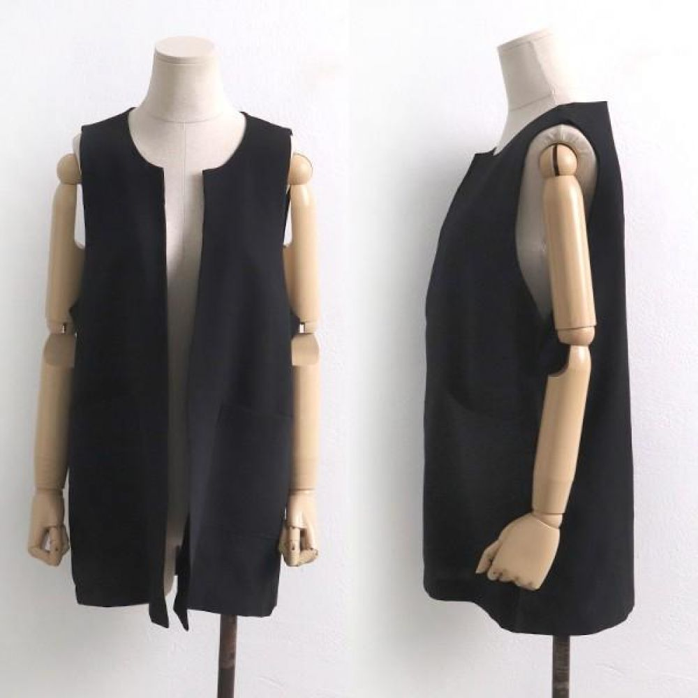 빅사이즈 004 블랙 스판 오픈 조끼 DBG5983 빅사이즈 여성의류 미시옷 임부복 004블랙스판오픈조끼DBG5983