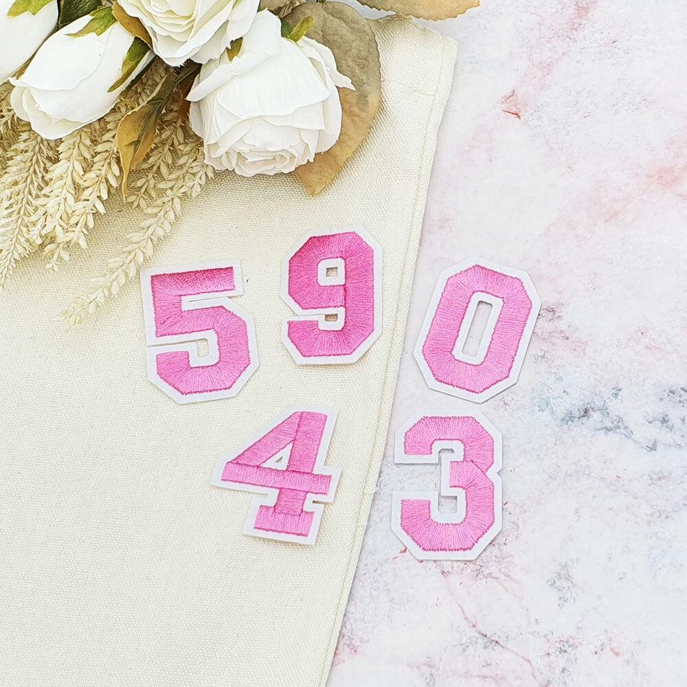 의류 패치 숫자 분홍