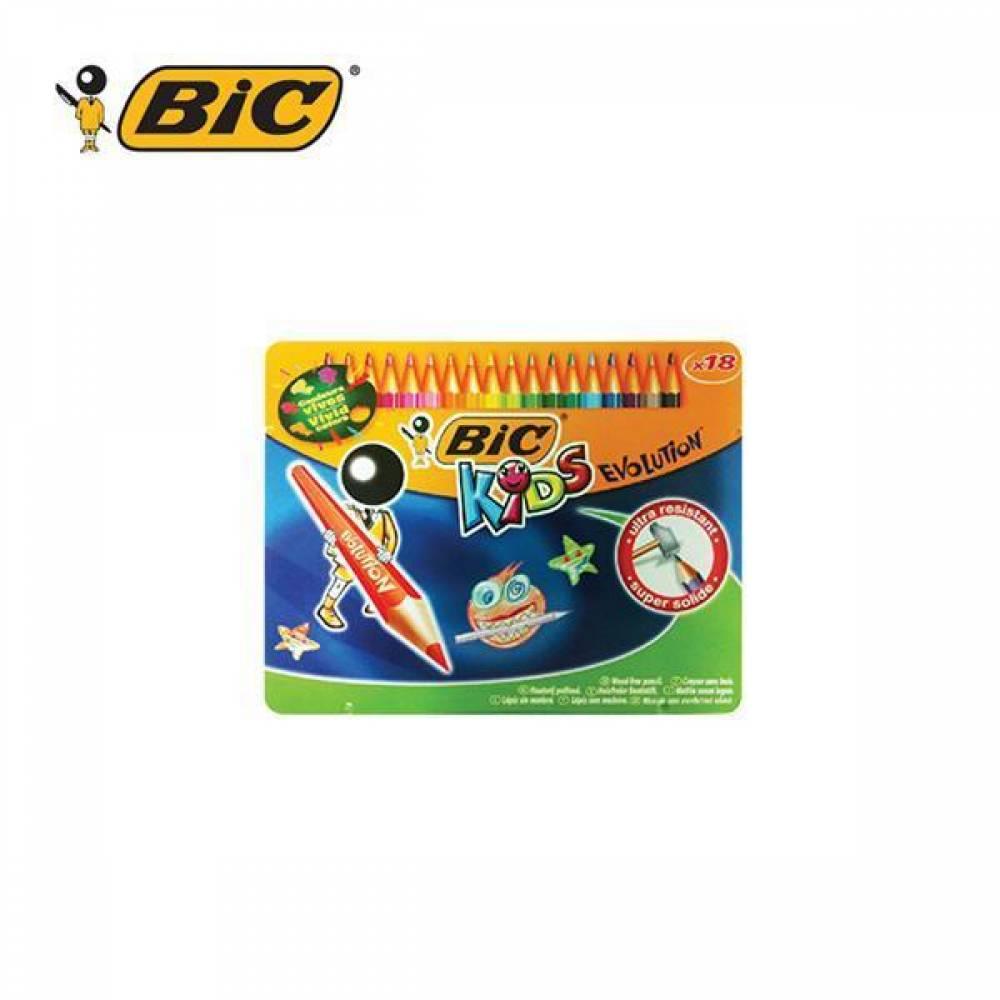 BIC 빅 에볼루션 메탈 컬러링 18색 색연필 [제작 로고 인쇄 홍보 기념품 판촉물]